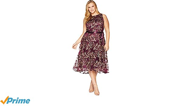 4d095a8dc09 Tahari by ASL Women s Plus Size Embroidered Mesh Midi Dress Aubergine Gold  20 W