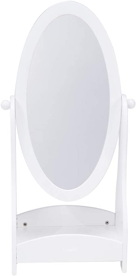 Crown Kids Wood Floor Standing Mirror, Full Length White Oval Body Mirrors Dressing Mirror Swivel Wood Cheval with Storage for Girls, Kids Bedroom Furniture