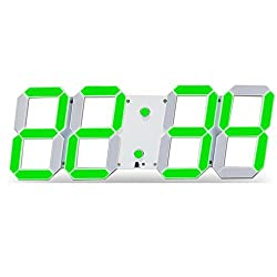CHkosda Remote Control Jumbo Digital Led Wall Clock, Multifunction Led Clock, Large Calendar, Minute Alarm Clock, Countdown Led Clock, Big Thermometer, Mute Clock (Green)