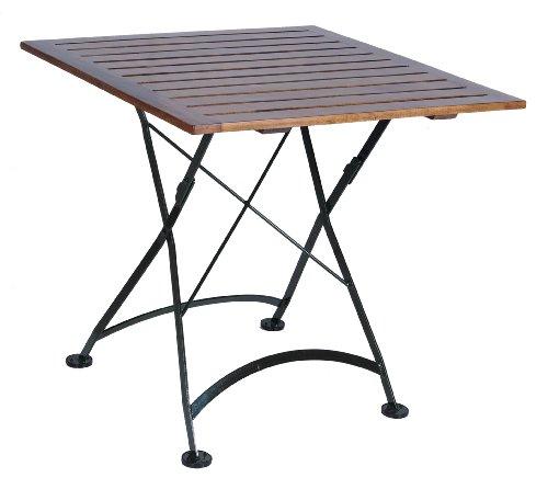 Iron Table Folding Patio Square - Mobel Designhaus French Café Bistro Folding Table, Jet Black Frame, 32