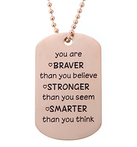 Gold Jewelry Heart Tag - Kendasun Jewelry Dog Tag You are Braver than you believe. Premium Stainless Steel (ROSE GOLD w/HEARTS You Are Braver)