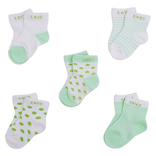 evelin-lee-kids-unisex-baby-toddler-soft-socks-5-pairs-crew-walkers-newborn-gift-0-6-months-green