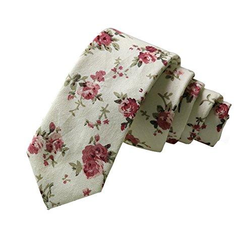 Floral Tie Men's Cotton Printed Flower Neck Tie Skinny Neckties ()