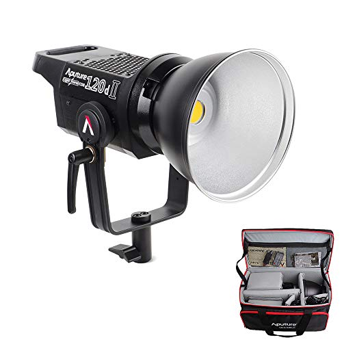 (Aputure 120D Mark 2, 120D II LED, 180W Daylight Balanced Led Video Light with PERGEAR Soft Diffuser, 30,000 lux@0.5m, CRI96+ TLCI97+, Support DMX, 5 Pre-Programmed Lighting Effects, Ultra Silent Fan )
