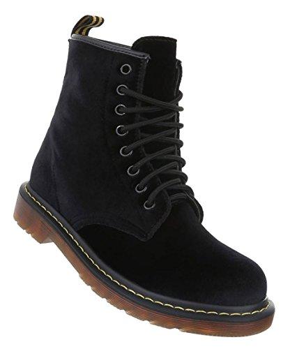 Stylische Damen Stiefeletten | Worker Boots Schnürung | Halbschaft Stiefel | Damenschuhe Leder-Optik | Punk Stiefel Schuhe | 8-Fach Schnürstiefelette | Schuhcity24 Schwarz