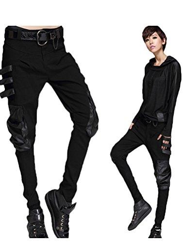 Minibee Womens Harem Patchwork Leather Pocket Punk Style Personalized Pants Black