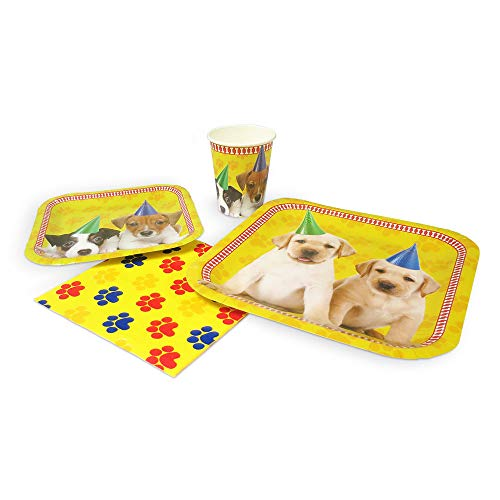 Blue Dog Plate - Blue Orchards Puppy Standard Party Packs (65+ Pieces 16 Guests!), Puppy Party Supplies, Dog Themed Birthdays, Puppy Decorations