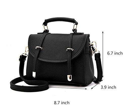 Women Top Shoulder Leather Crossbody Bags Handbags Messenger Bag Nodykka Black Handle Satchel qEdYEB