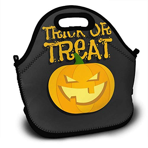Insulated Neoprene Lunch Bag Thermal Carrying Gourmet Lunch Box Containers for Women Men Teen Girls Boys Kids Baby - Trick Or Treat Halloween ()