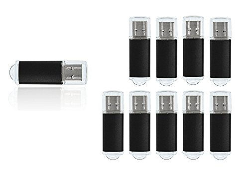 FEBNISCTE Bulk 10 Pack 16GB USB 2.0 Pendrive Thumb Stick, Black by FEBNISCTE