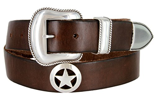 3 Piece Leather Concho Belt (Mens Marshall Star Concho Western One Piece Genuine Leather Jean)