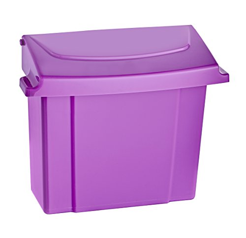 Alpine Sanitary Napkins Receptacle - Feminine Hygiene Products, Tampon & Waste Disposal Container - Durable ABS Plastic - Seals Tightly & Traps Odors -Easy Installation Hardware Included (Purple)