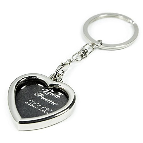 Yosoo Mini Creative Metal Alloy Buckle Insert Photo Picture Frame Keyring Keychain Car Key Chain Ring Keyfob Gift (heart-shaped) (Heart Personalised Ring Key)