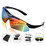 Rocknight Polarized Sports Sunglasses for Men Women with 5 Interchangeable Lenses Cycling Running Fishing Baseball Glasses UV Protection Black