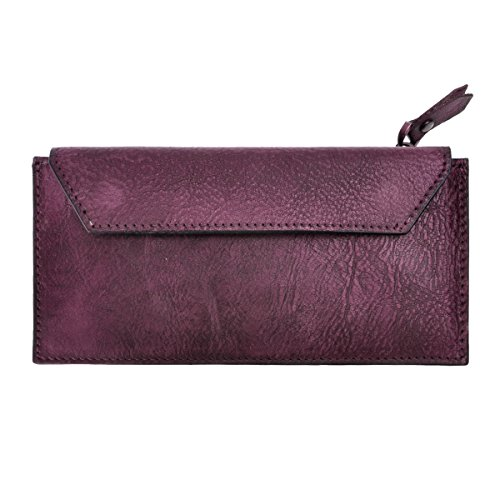ZLYC Handmade Dip Dye Leather Long Card Organizer Wallet with Removable Card Holder, Purple by ZLYC