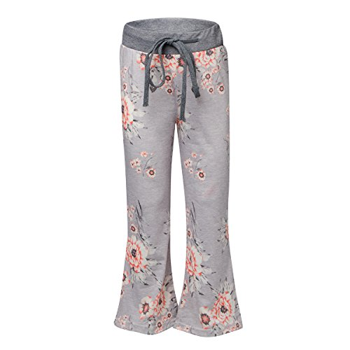 Sunfung Girls Casual Floral Print Drawstring Palazzo Pajama Wide Leg Lounge Oversized Flower Flare Pants (L(7-8T), Light Gray)