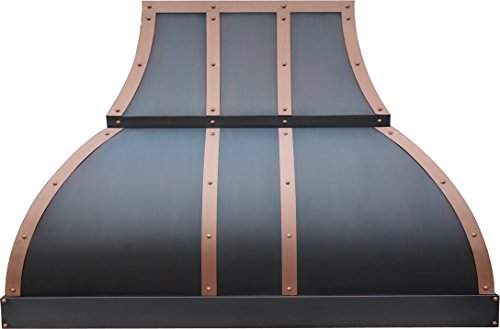 Copper Vent Hood H1 302127S Copper Range Hood with Brass Straps and Rivets, Includes Motor House 660CFM, 30 inch Wall Mount