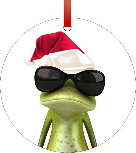 Christmas Ornaments Frog Tree (Rosie Parker Inc. Santa Tree Frog with Shades-Double-Sided Round Shaped Flat Aluminum Christmas Holiday Hanging Tree Ornament with a Red Satin Ribbon. Made in The USA!)