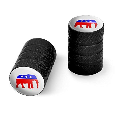 共和党象GOP保守アメリカ政党オートバイ自転車バイクタイヤリムホイールアルミバルブステムキャップ - ブラック