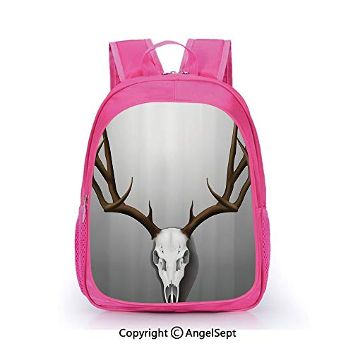 Hot Sale Backpack Casual Daypack,Realistic Deer Skull with Large Horns Elk Skeleton on Abstract Backdrop Decorative Brown White Grey,15.7inch,Travel Outdoor Backpack For Boys And Girls]()