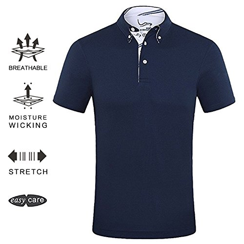 EAGEGOF Men's Shirts Navy Short Sleeve Tech Performance Golf Polo Shirt Loose Fit (Performance Mens Golf Polo)