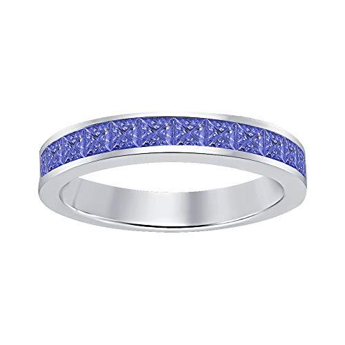 (tusakha Princess Cut Tanzanite Half Eternity 14k White Gold Plated 925 Sterling Silver Wedding Band Ring for Men's)