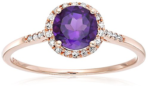 10k Rose Gold African Amethyst and Diamond Classic Princess Di Halo Engagement Ring (1/8 cttw, H-I Color, I1-I2 Clarity), Size 7