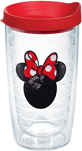 Minnie Mouse Tumbler (Tervis Disney Minnie Mouse Sequins Tumbler with Red Lid, 16-Ounce)