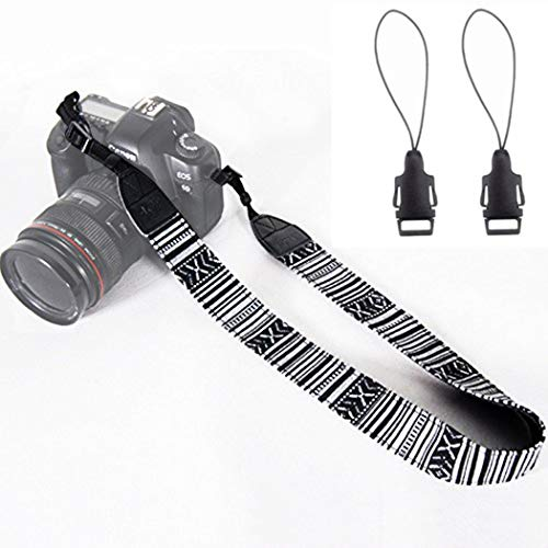 Wannabuy Camera Soft Bohemia Shoulder Neck Universal Camcorder Belt Strap Vintage Antislip Belt for All DSLR Camera Canon Nikon Sony Pentax Fujifilm Colorful (Black) ()