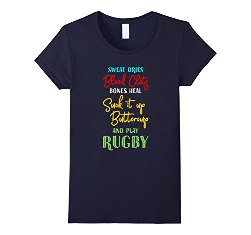 Womens Funny Rugby T Shirt Medium Navy