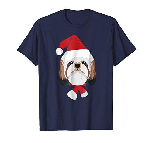Merry Christmas Shih Tzu Dog with Santa Hat T-Shirt
