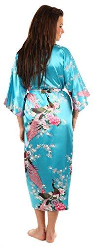 VEAMI Women's Kimono Robe, Peacock Design-Enchanted Blue-Medium, Long