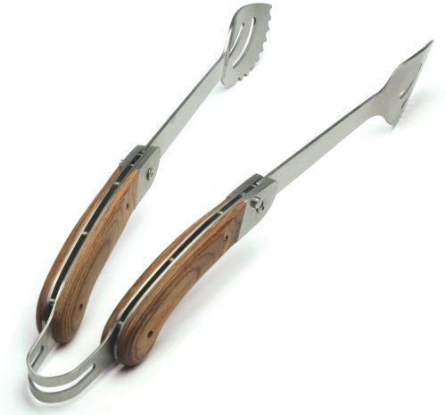 Charcoal Companion Explorer Stainless-Steel Grilling Tongs with Folding Rosewood Handles - Rosewood Barbecue Tongs