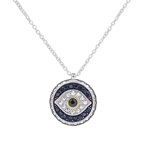Darget Turkish Evil Eye Cats Eye Gold Plated Faith Protection Lucky Jewelry for Women and Girls (Evil Eye Round Pendant Necklace)
