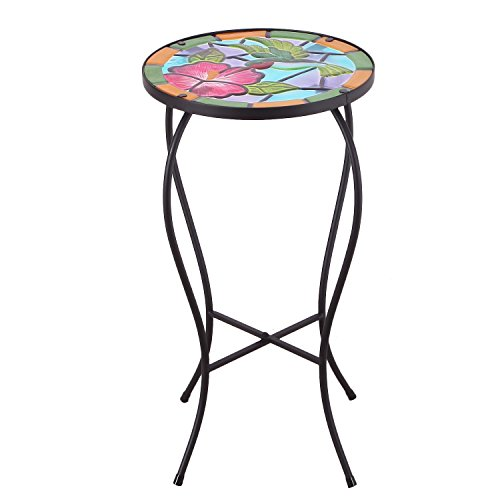 Adeco Round Side Table Plant Stand Accents Serving Snack Tea Glass Top