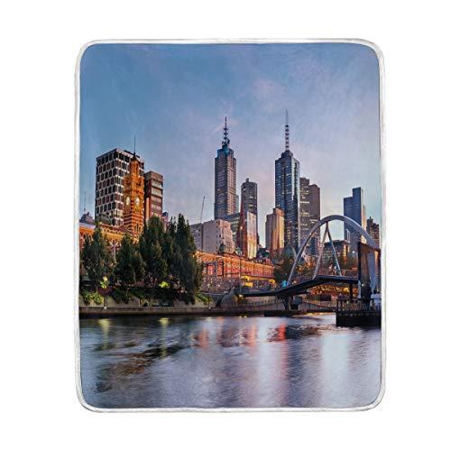 CHASOEA Throw Blanket,City Morning Australia River Print,Microfiber All Season Bed Couch,50