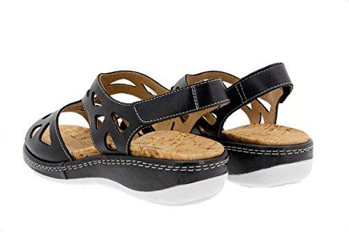 PieSanto Calzado Mujer Confort de Piel 1905 Sandalia Plantilla Extraíble Cómodo Ancho Negro