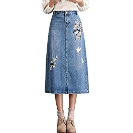 chouyatou Women's Calf Length A-Line Floral Embroidered Midi Denim Skirt