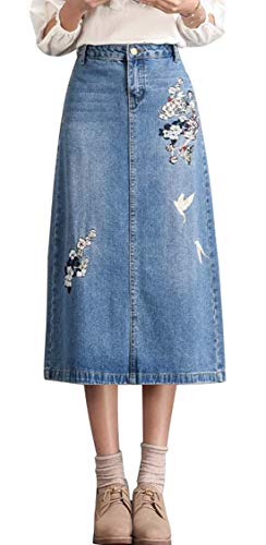 - chouyatou Women's Calf Length A-Line Floral Embroidered Midi Denim Skirt (40, Blue)
