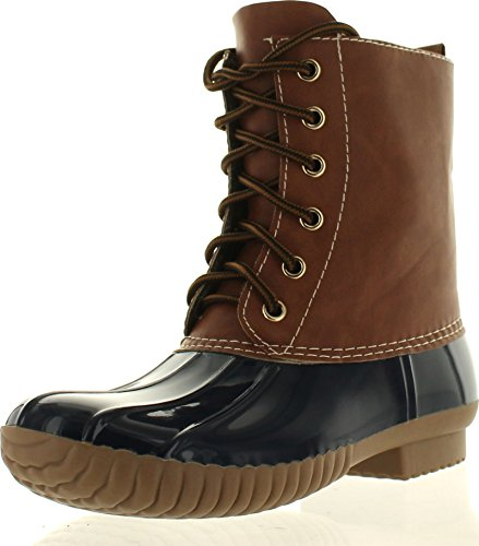 AXNY Dylan Women's Lace Up Two Tone Combat Style Calf Rain Duck Boots,Navy,8.5