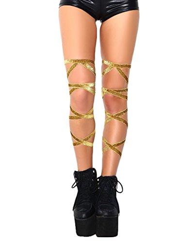 - iHeartRaves Pair of Non-Slip Rave Leg Wraps (Gold Glitter)