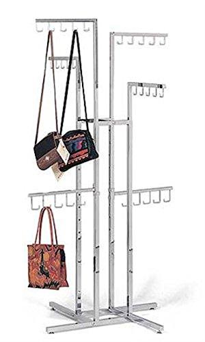 New Chrome 4-way Handbag Purse Display Racks with J-hooks Adjustable 48'' to 72'' by Counter Display Rack