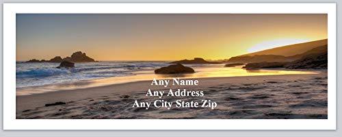 150 Personalized Address Labels Scenic Beach Scene Sunset (ac 515) ()