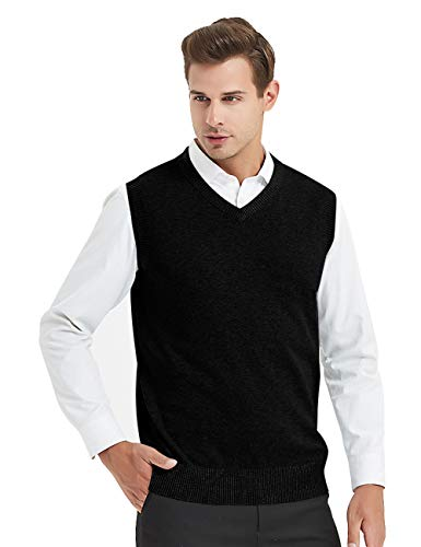 TOPTIE Mens Business Solid Color Plain Sweater Vest, Cotton Fit Casual Pullover-Black-L