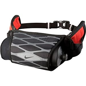 Nike Vapor/Storm Hydration Waistpack (22oz, OSFM, Black/Cool Grey/Light Crimson)