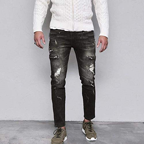 Per Libero Tempo Da Autunno Uomo Skinny Jeans Estivi Esterni Fit Slim Uomo Il Stretch Nero Basic Distrutti Pantaloni W8xxaP0v