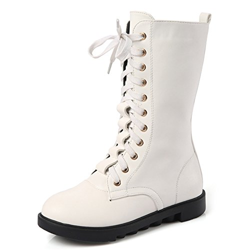 Cheap White Boots (YING LAN Kids Girls Boys Leather Round Toe Military Lace Up Mid Calf Combat Boots Winter Warm Snow Boots White 34)