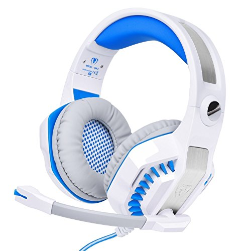 RedHoney XBOX S Gaming Headset GM2 3.5mm Stereo LED Headphone with Microphone and Y Splitter for PS4 Xbox One PC Laptop Smartphone Tablet (GM-2 White+Blue) Nt 180 Tablets