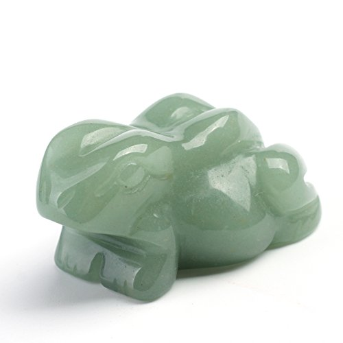 HongJinTian Natural Green Aventurine Crystal Small Frog Statue Decorative (Green Crystal Frog)