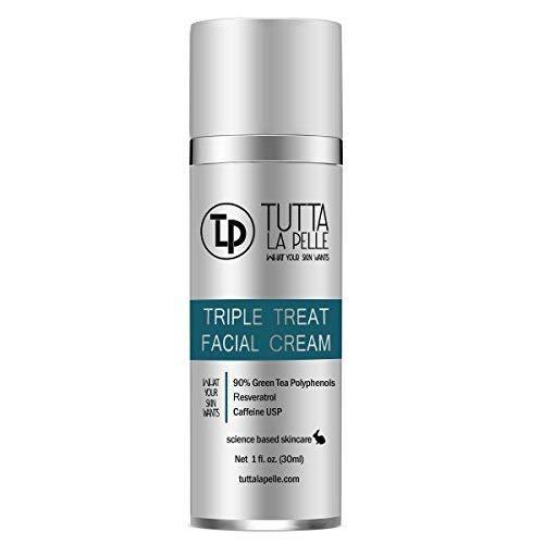 Anti Aging face Cream TRIPLE Antioxidant Treatment Serum For Face, Resveratrol + Green Tea + Caffeine - Visibly Reduce Skin Redness & Calm Irritation -For Sensitive Rosacea Skin -1oz